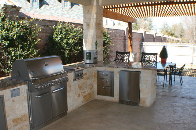 Fort Worth Covered Patio with Pergola Outdoor Kitchen and ... on Covered Outdoor Kitchen With Fireplace id=16720