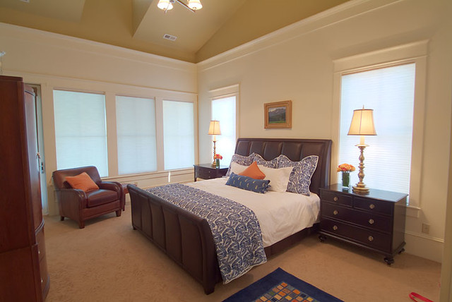 Master Bedroom With China Blue Accents Farmhouse