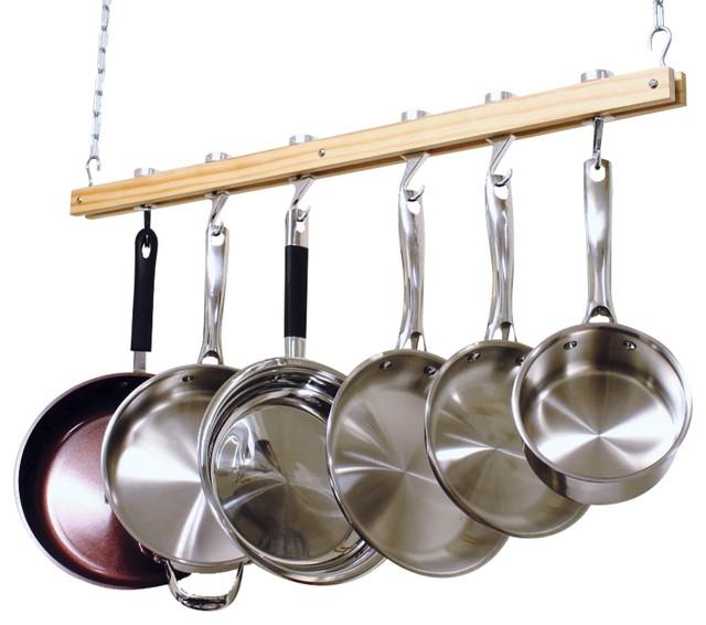 cooks standard ceiling mount wooden pot rack single bar