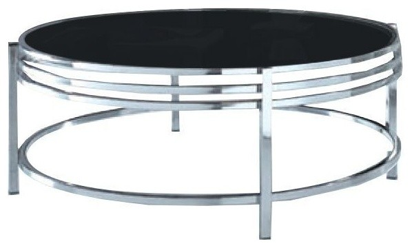 modrest dena contemporary black glass round coffee table