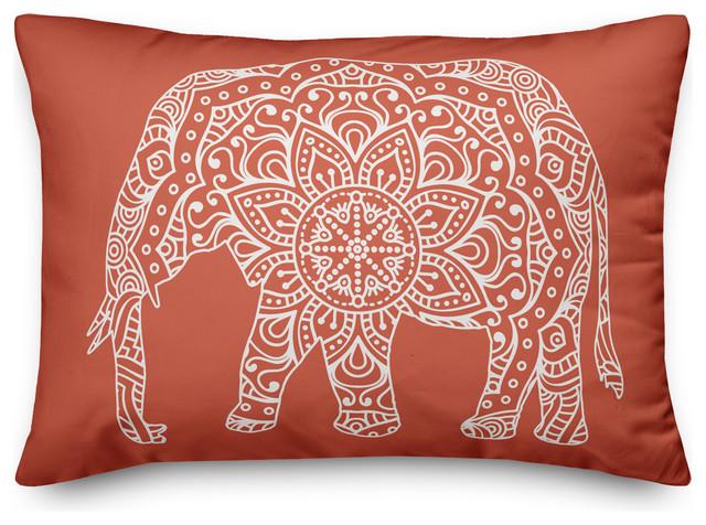 orange mandala elephant throw pillow