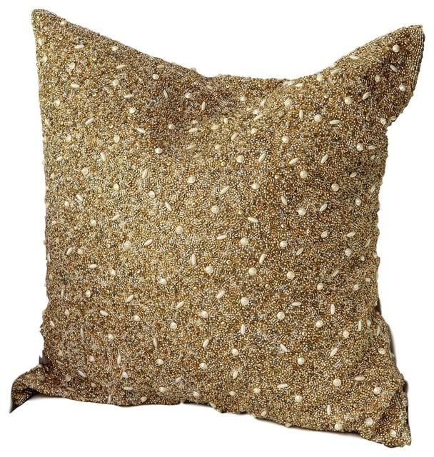 luxe beaded gold pearls ornate throw pillow lavish metallic textured bed sofa