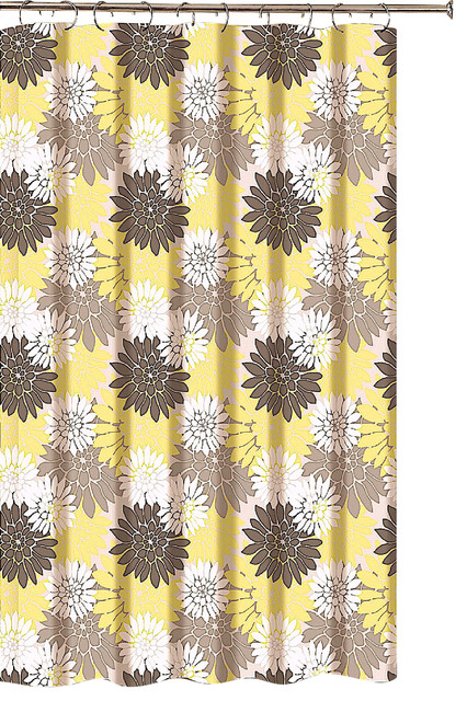 floral shower curtain brown taupe yellow white