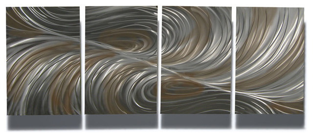 Metal Wall Art Decor Abstract Contemporary Modern Four Square Colored Ripples