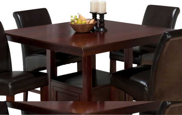 counter height storage dining table Jofran Tessa Chianti Square Counter Height Table with Storage Base - Traditional - Dining Tables