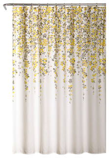 """Weeping Flower Shower Curtain, Yellow/Gray, 72""""x72"""""""