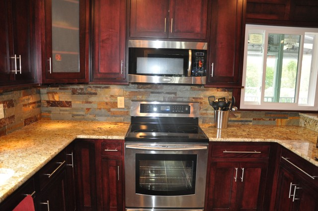 Granite Countertops and Tile Backsplash Ideas - Eclectic ... on Backsplash Ideas For White Cabinets And Granite Countertops  id=60176