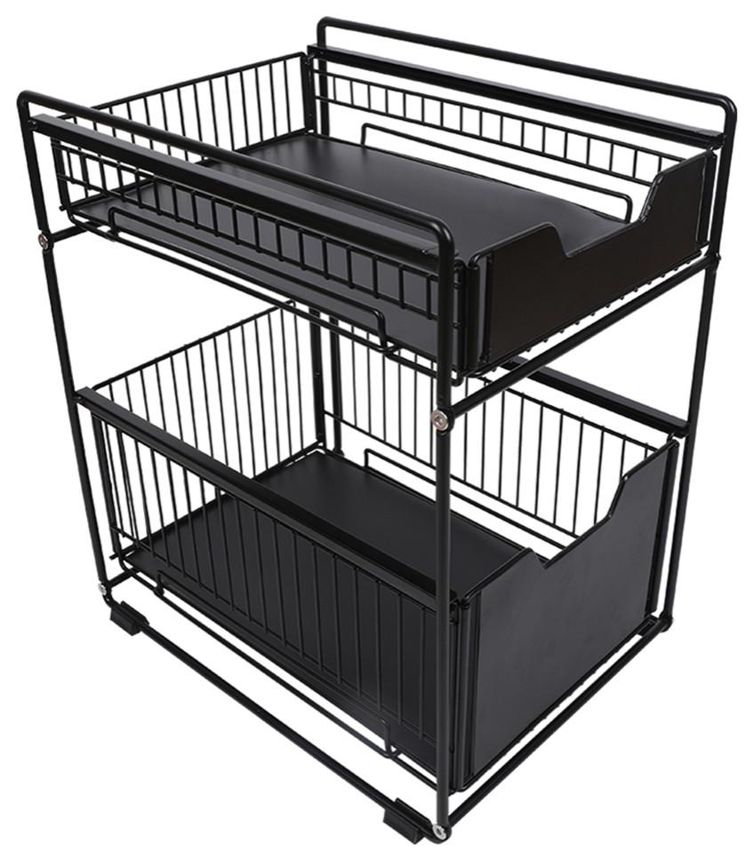 black steel narrow under sink organizer 2 tier countertop sliding rack