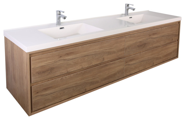 mom 84 wall mounted vanity with 4 drawers and acrylic double sink teak oak