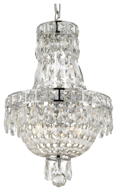 French Empire 3 Light Crystal Chandelier 15 X11 Traditional Chandeliers