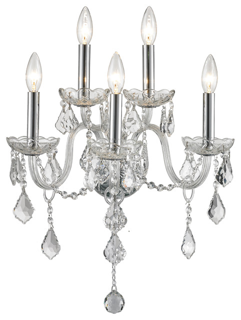 5-Light Clear Crystal Candle Wall Sconce, Chrome Finish ... on Decorative Wall Sconces Candle Holders Chrome id=92790