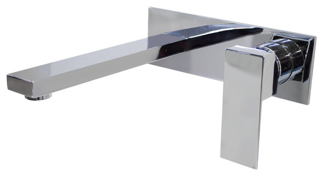 chrome single handle linear wall mount lavatory faucet with backplate