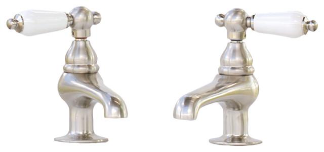 satin nickel kingston restoration bath faucet porcelain lever handles