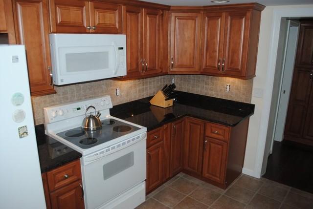 Maple Cabinets, Tan Brown Granite, Tile Backsplash, Vinyl ... on Backsplash For Maple Cabinets And Black Granite  id=80989