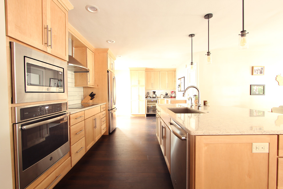 Natural Maple Cabinets in Open Kitchen with Quartz ... on Natural Maple Cabinets With Quartz Countertops  id=40471