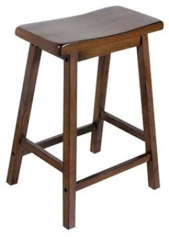 "24"" Counter Height Solid Wooden Saddle Seat Stools, Set of 2, Walnut"