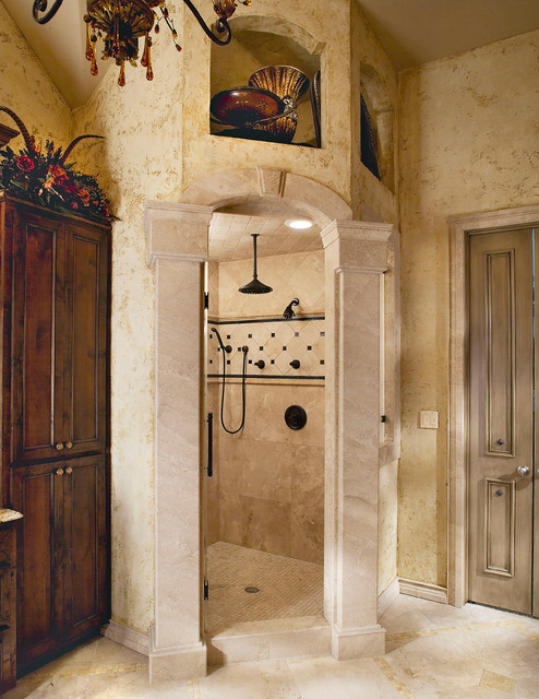 Tuscan Old World Stone Master Shower Traditional