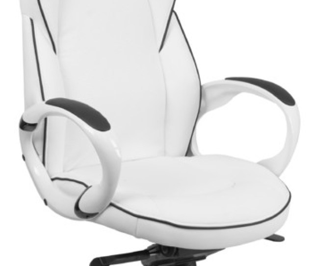 High Back White Vinyl Executive Swivel Office Chair With Black Trim Contemporary Office Chairs By Ergode