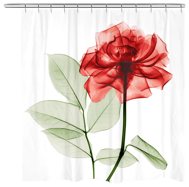 laural home sultry red rose shower curtain