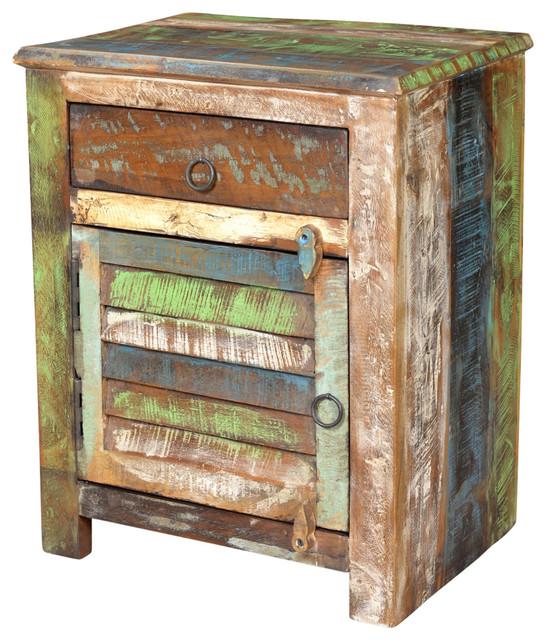 vidaxl end table w 1 drawer 1 door reclaimed wood side storage cabinet stand