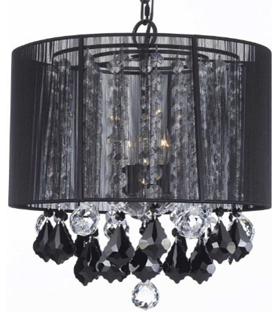 Crystal Chandelier With Large Black Shades Jet Pendant Traditional Chandeliers