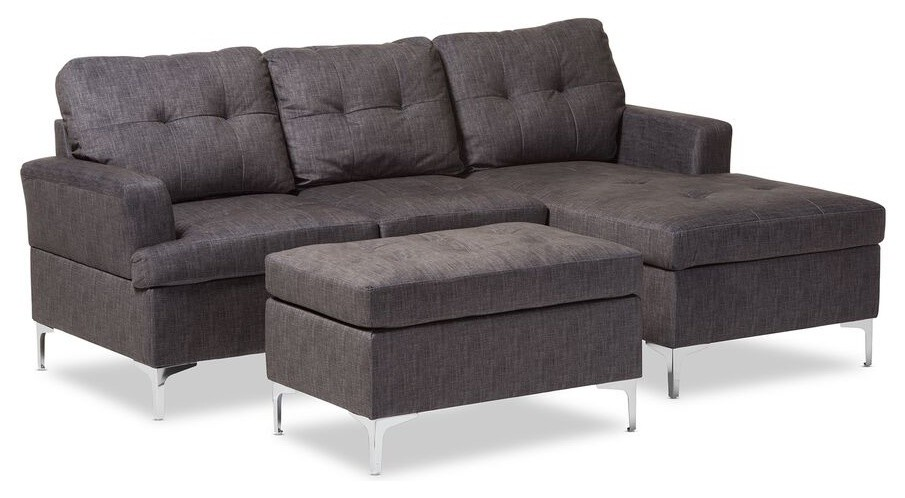 Riley Modern Grey Fabric Upholstered 3-Piece Sectional ... on Riley 3 Piece Sectional Charleston id=86685