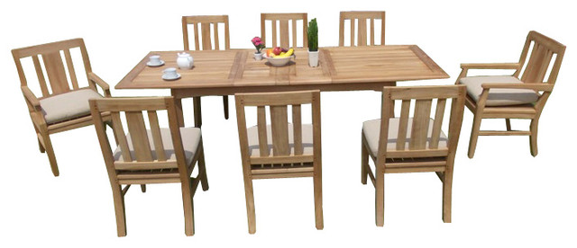 "9-Piece Outdoor Teak Dining Set, 94"" Extension Rectangle"