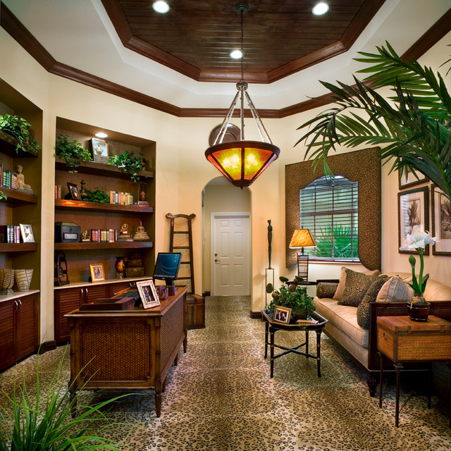 Davie Custom Homes Tropical Home Office Miami By DeShea Interiors Inc