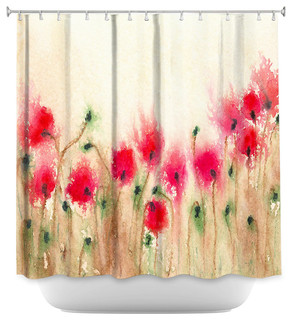 Shower Curtain Unique from DiaNoche Designs - Field of Poppies