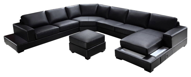 soflex baltimore ultra modern black faux leather sectional sofa set right chaise