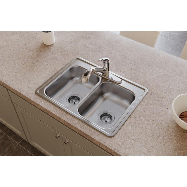 d225193 dayton stainless steel 25 x 19 double bowl drop in sink 3 holes