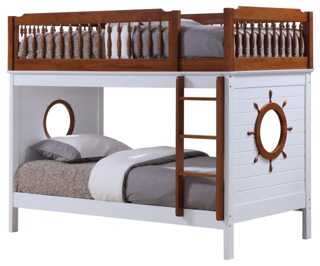acme farah twin twin bunk bed oak and white