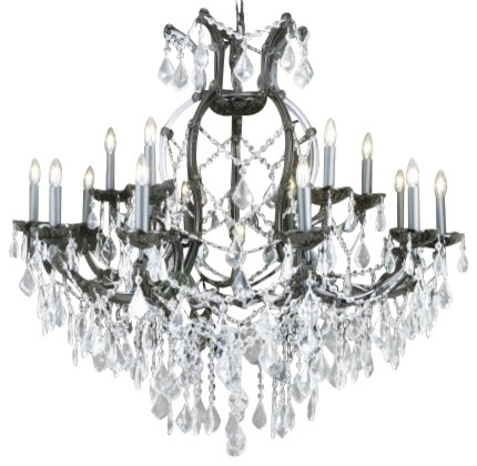 Jet Black Crystal Chandelier With Clear Traditional Chandeliers