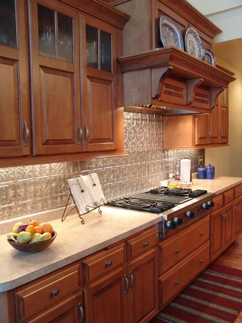 maple cabinets - tin backsplash - Traditional - Kitchen ... on What Color Backsplash With Maple Cabinets  id=90460