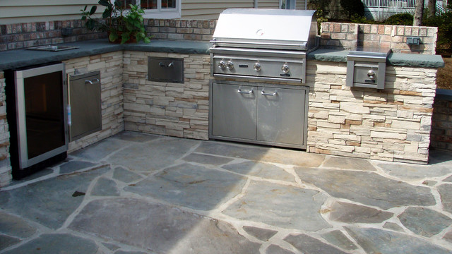 Brick and Bluestone Patio with Custom Grill Station on Patio Grill Station id=39306