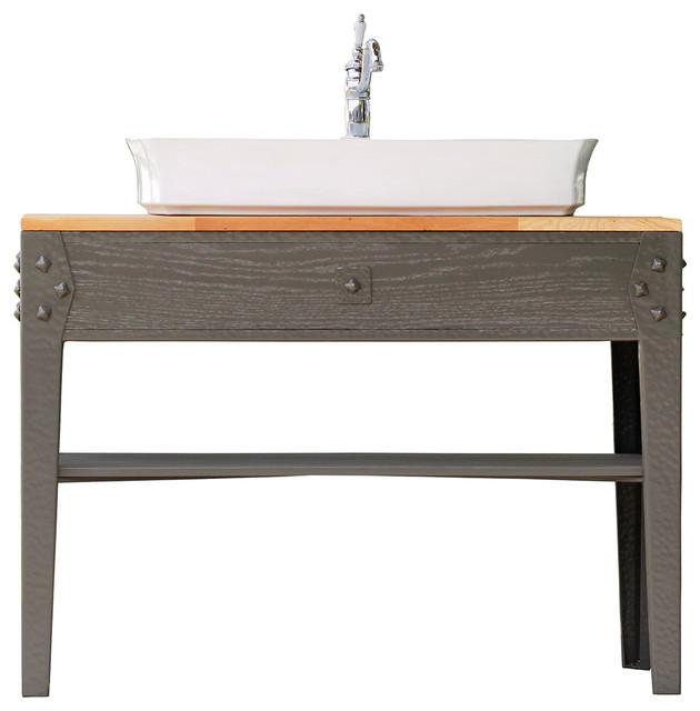 49 gray industrial cast iron wood bath vanity vessel trough farm sink