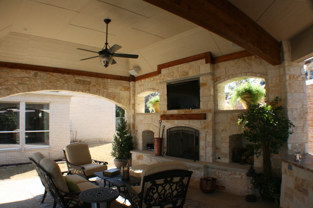 Fort Worth Covered Patio with Pergola Outdoor Kitchen and ... on Covered Outdoor Kitchen With Fireplace id=64689