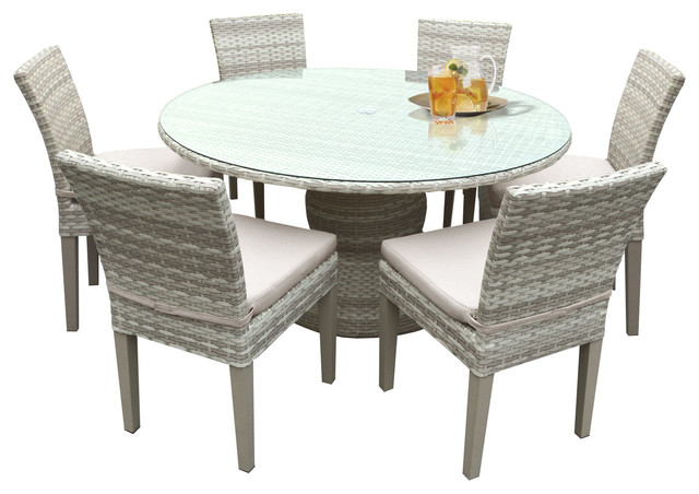 """New Haven 60"""" Outdoor Dining Table With Chairs, 7-Piece"""