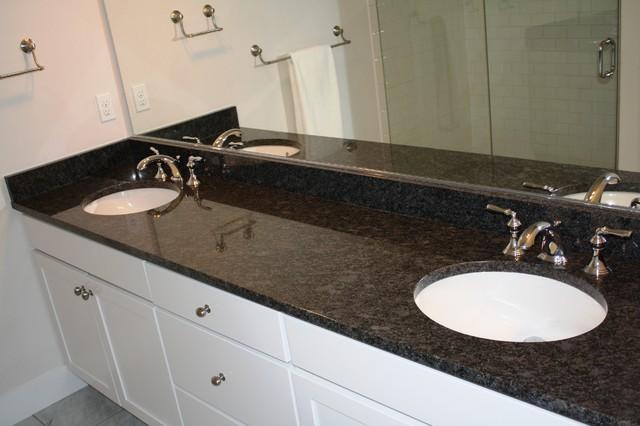 Arabian Black/Steel Grey - Traditional - Bathroom ... on Bathroom Ideas With Black Granite Countertops  id=51935