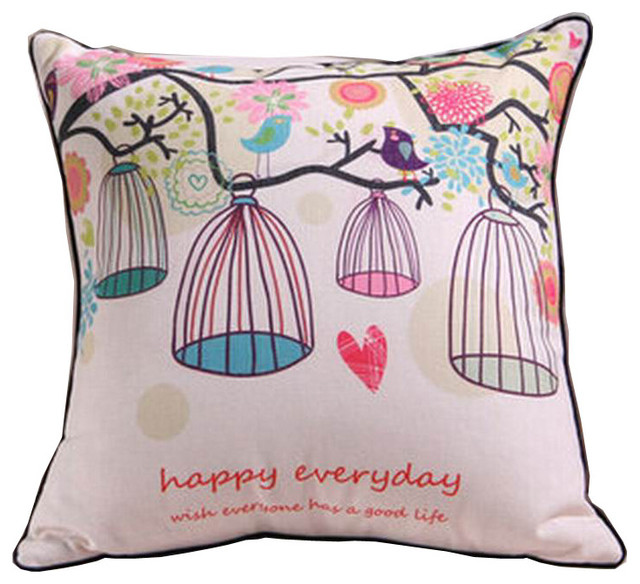 simple design throw pillow cover embroidered cotton linen pillow case freedom