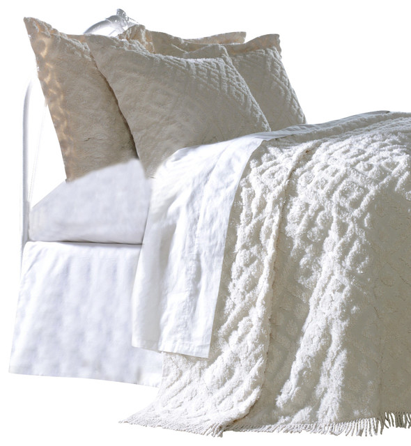 diamond tufted chenille bedspread and pillow sham set white twin