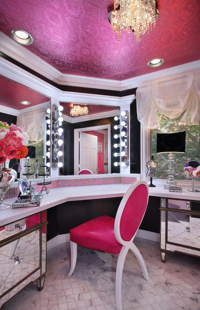 glam dance studio - Contemporary - Powder Room - Los ... on Make Up Room Ideas  id=84866
