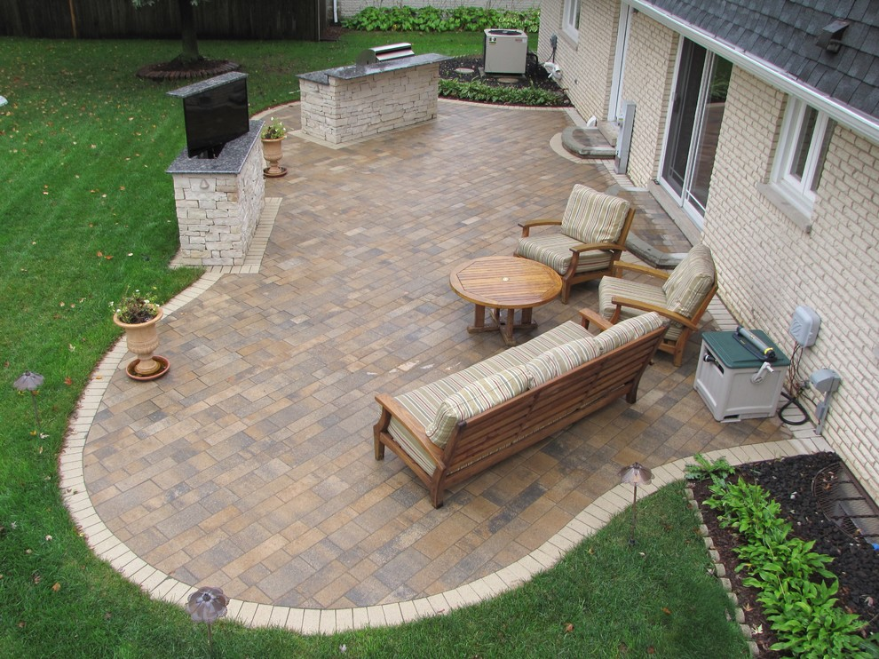 Darien, IL Paver Patio, TV Stand and Grilling Station ... on D&M Outdoor Living Spaces id=34010