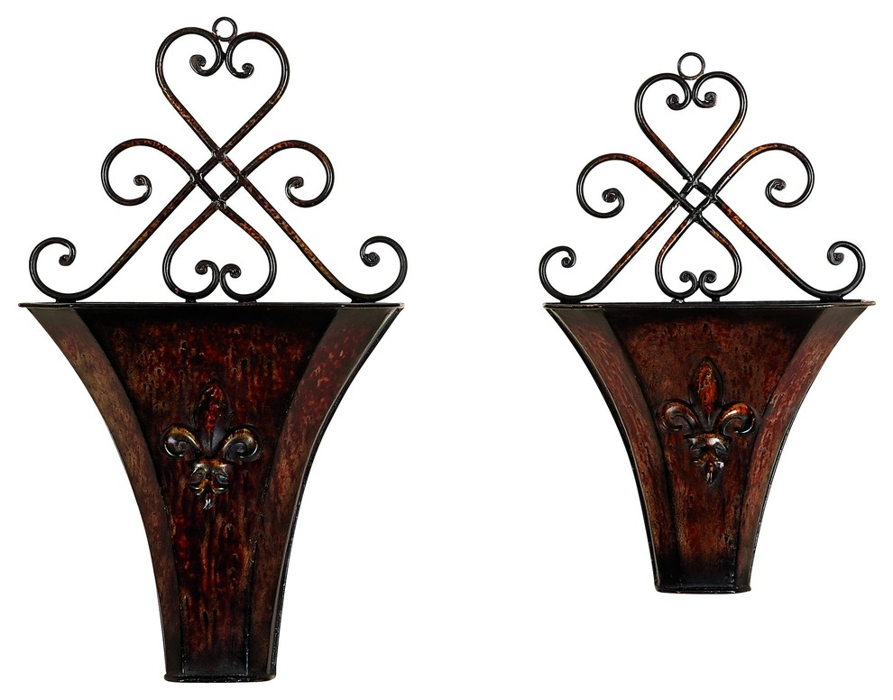 Rustic Floret Iron Wall Planters, 2-Piece Set ... on Iron Wall Vases id=88405