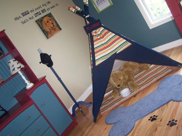 Dog Themed Boys Bedroom With Custom TeePee Traditional