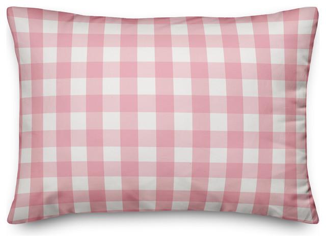 pink buffalo check outdoor lumbar throw pillow 14 x20