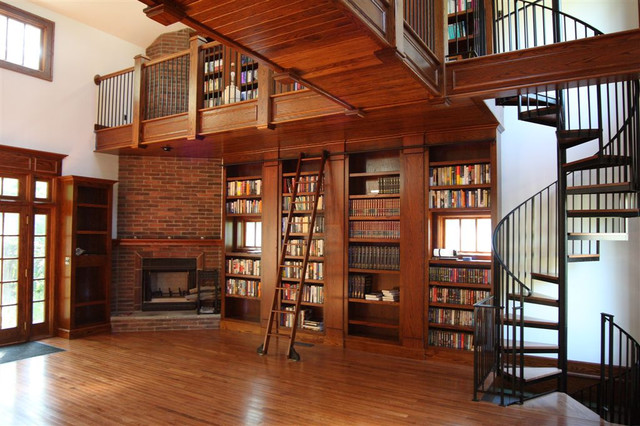 Rolling Library Ladder Traditional Living Room