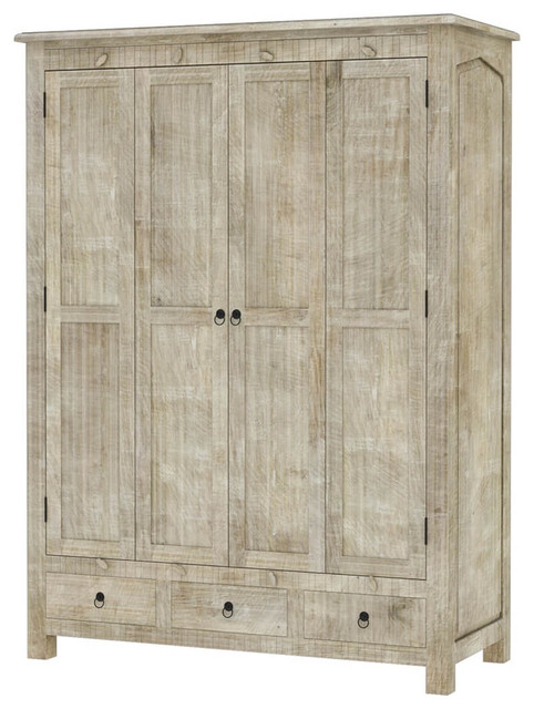 mission solid mango wood large white clothing armoire wardrobe