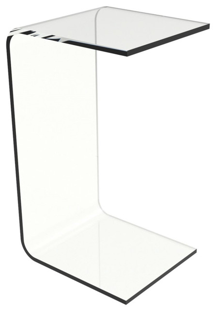 modern c style vertical side table in clear