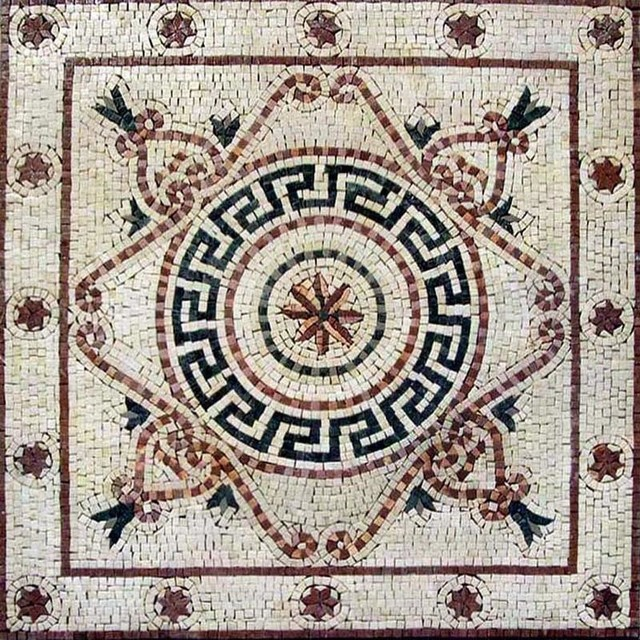 greek floor mosaic hepta 24 x24
